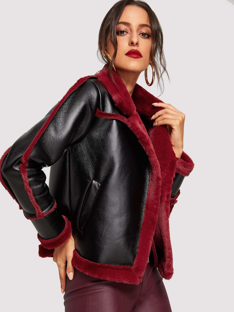 Contrast Lined Faux Shearling Jacket