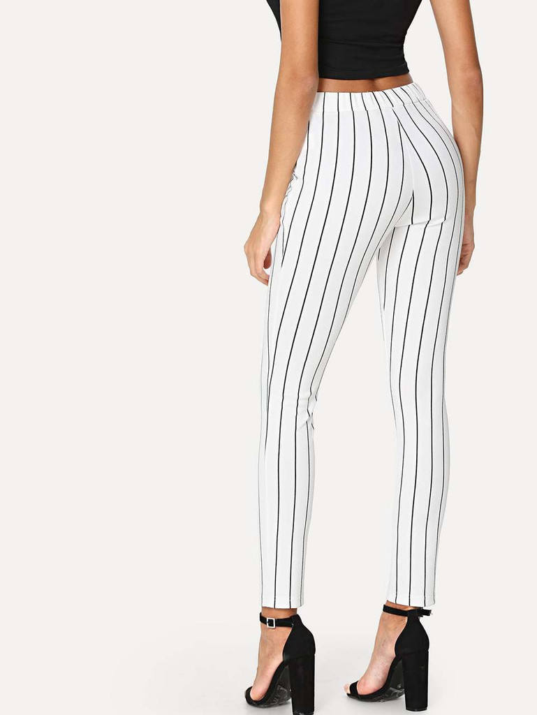 Vertical Striped Skinny Pants - Black and White