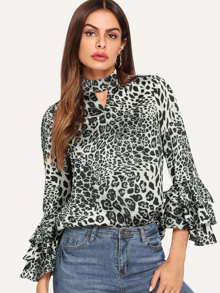 Layered Bell Sleeve Leopard Print Top