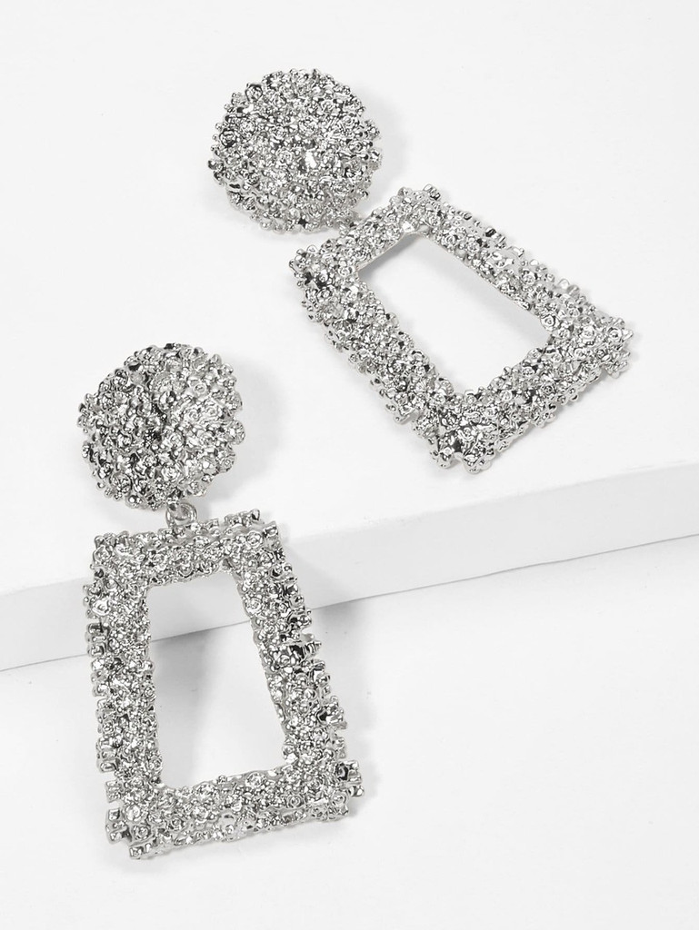 Open Rectangle Textured Drop Earrings - Silver