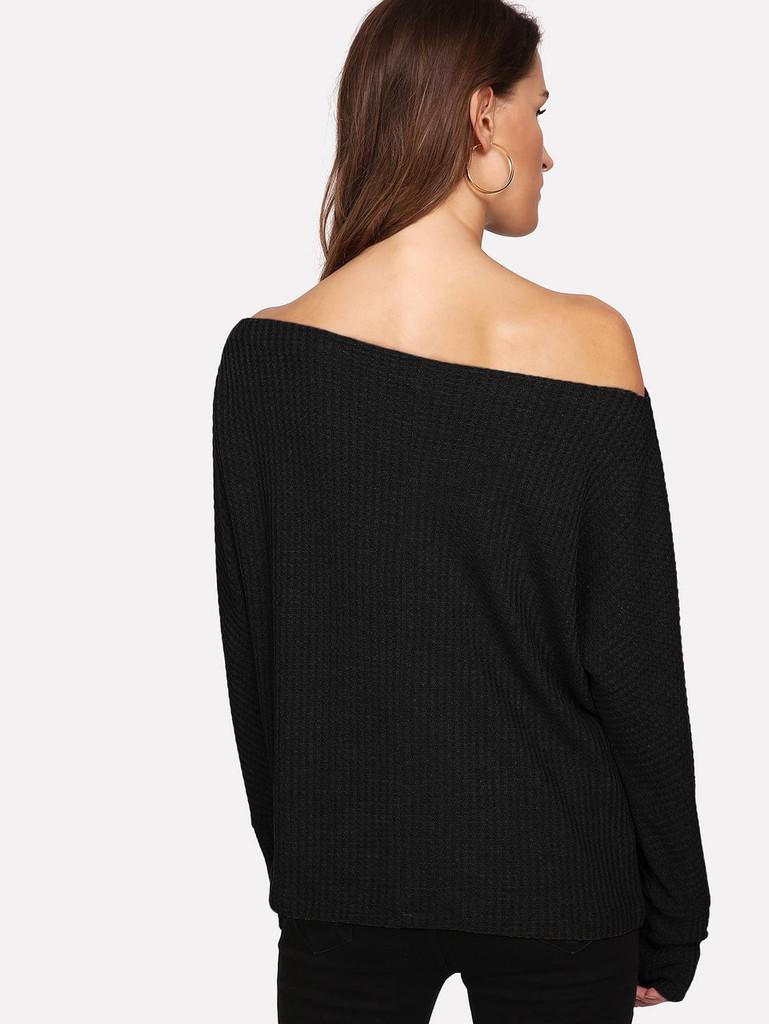 Oblique Shoulder Dolman Sleeve Jumper - Black - Black