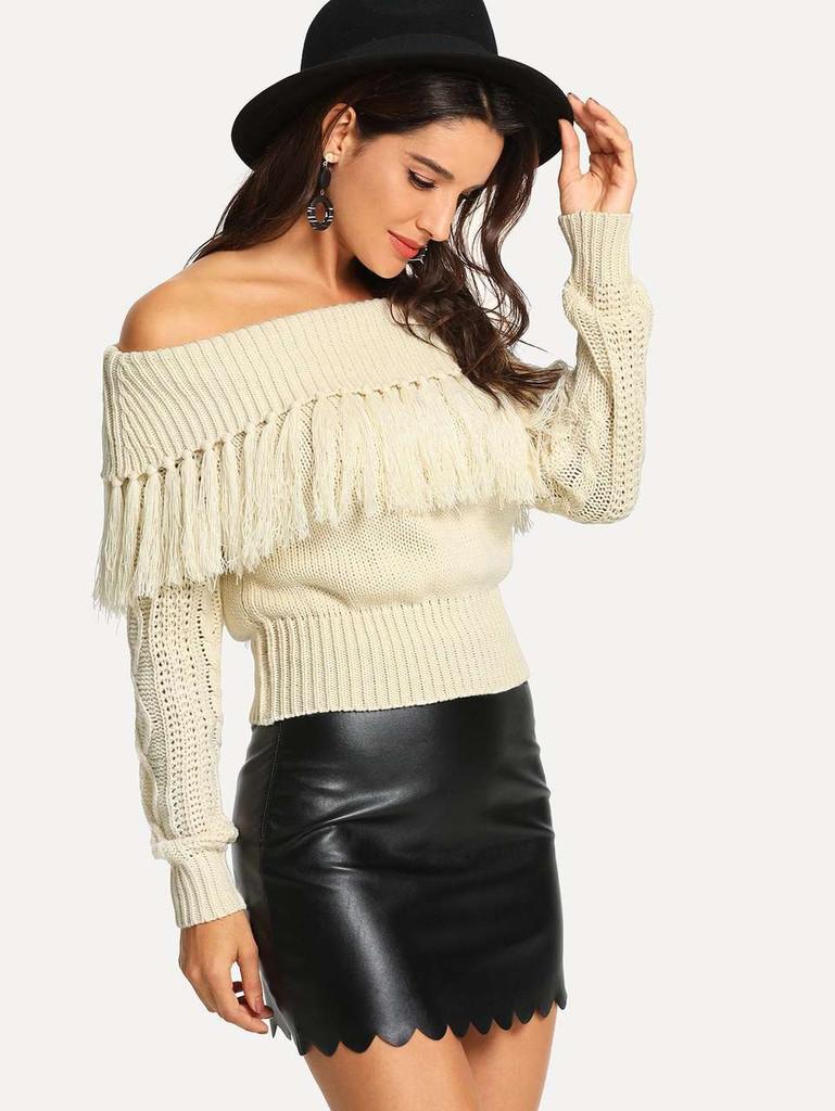 Off Shoulder Fringe Sweater