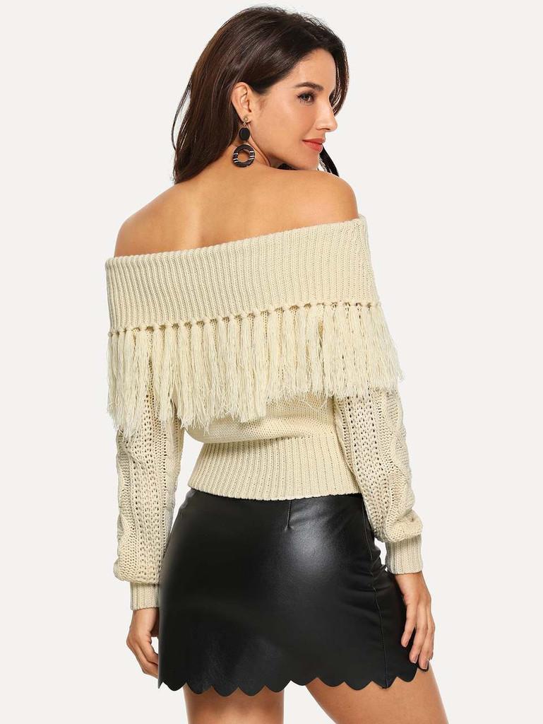 Off Shoulder Fringe Sweater - White