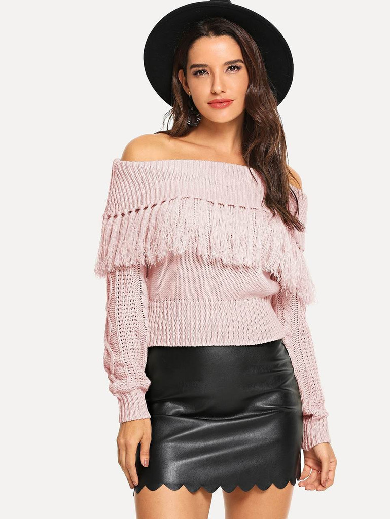 Off Shoulder Fringe Sweater - Pink