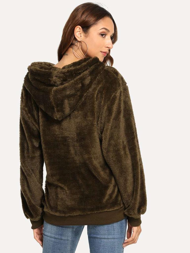 Fluffy Solid Hooded Teddy Sweatshirt