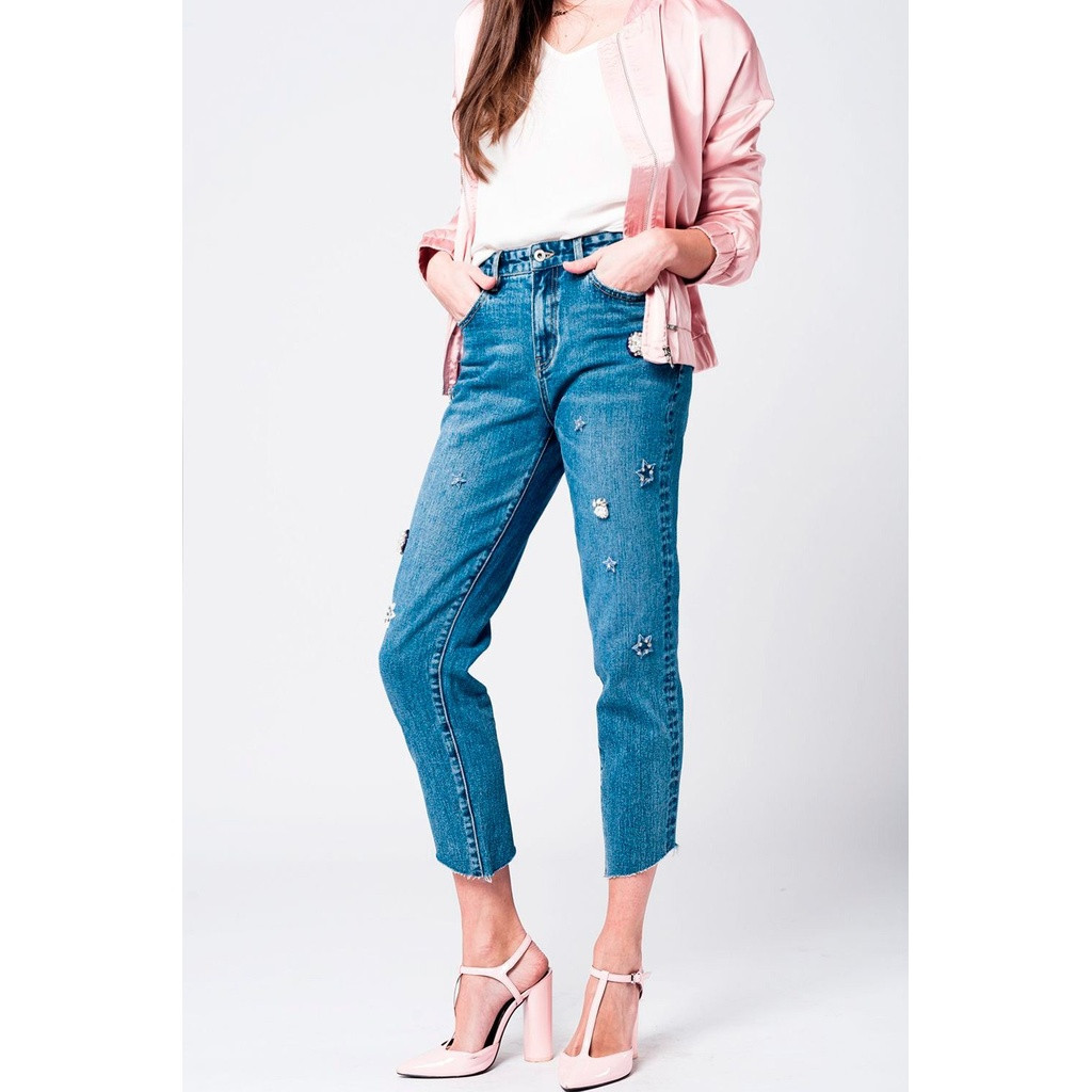 6dd4544887a Mom jeans with embroidered stars - Blue Click here to enlarge