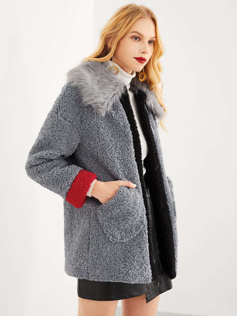 Faux Fur Collar Contrast Trim Teddy Coat