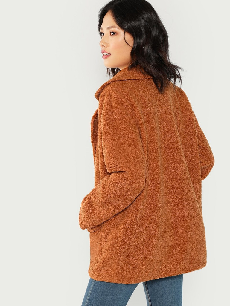 Pocket Patched Notched Teddy Coat