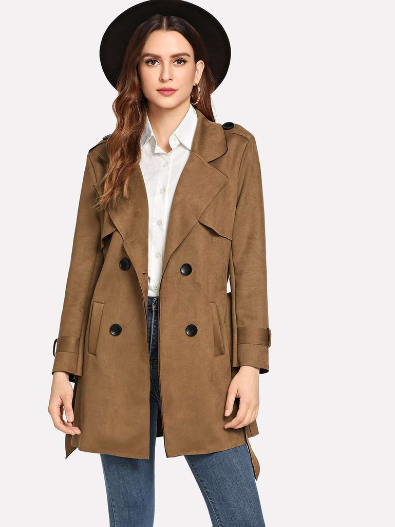 Plain Double Breasted Epaulette Coat