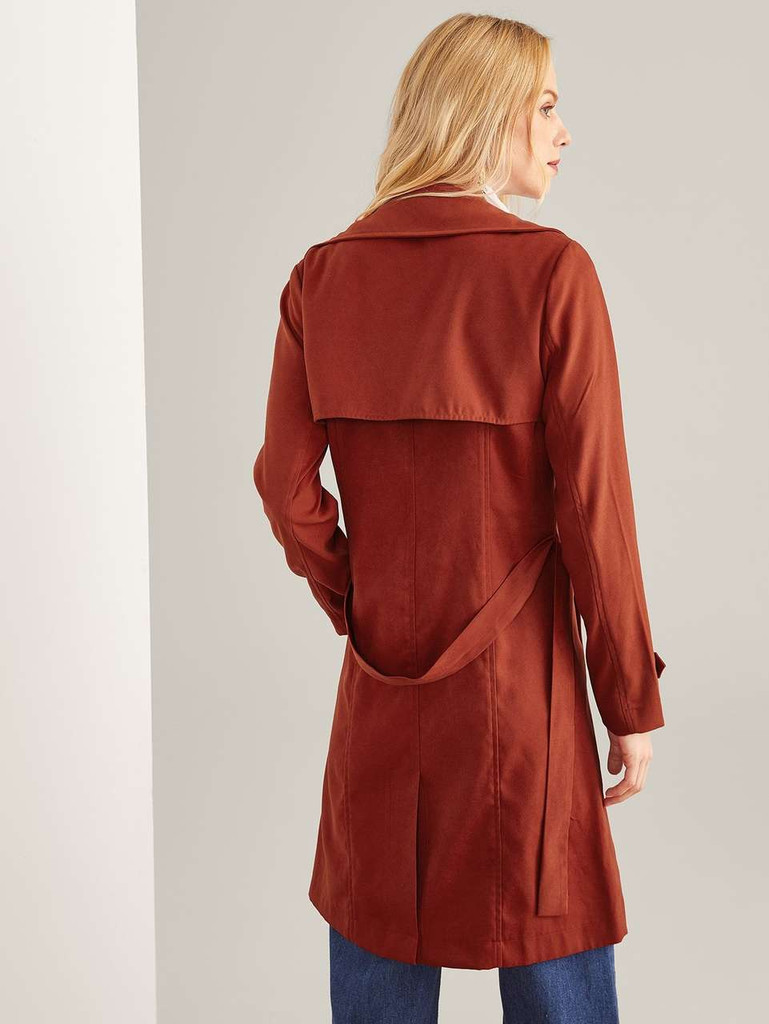 Button Detail Solid Long Coat