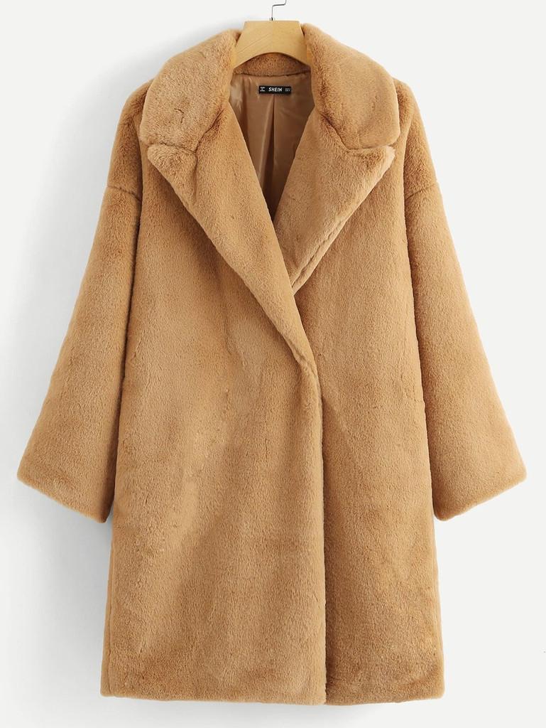 Button Front Faux Fur Teddy Coat - Camel