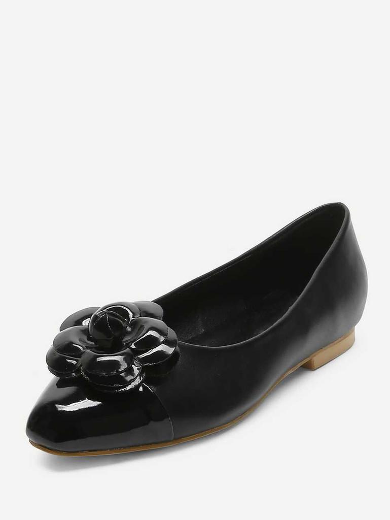 Flower Decorated PU Flats - Black - Black