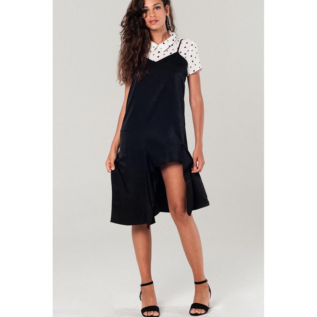 Asymmetric hem slip dress in black