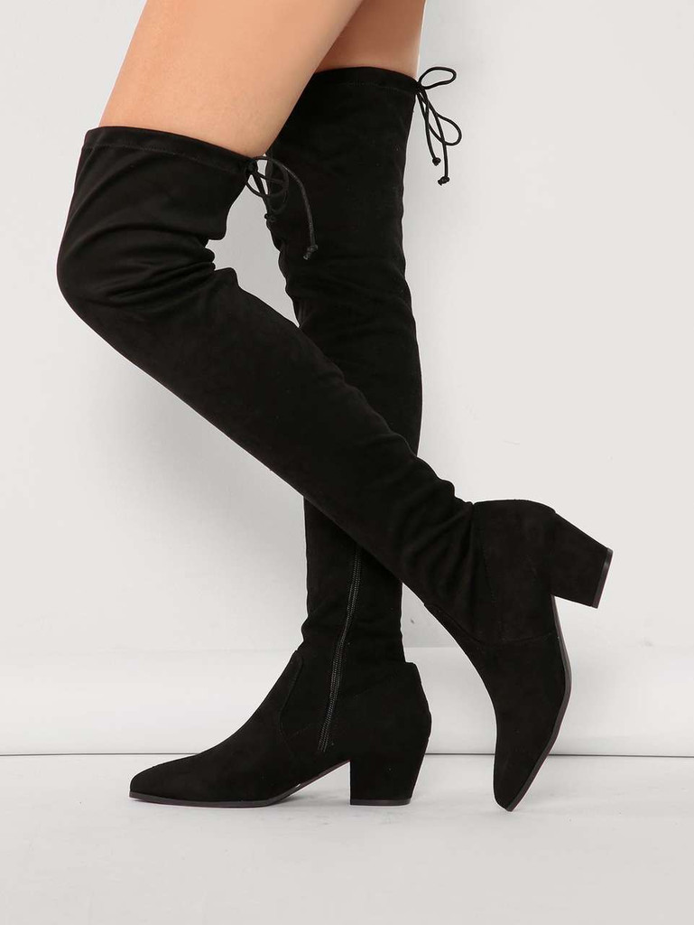 Details about  /Women/'s Fashion Leather Drawstring Draped Block Heel Knee High Boots Shoes YBWL