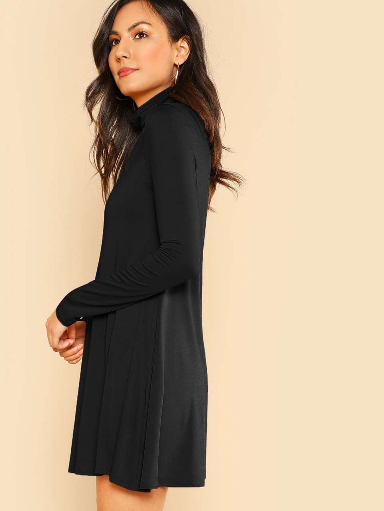 High Neck Flowy Dress - Black