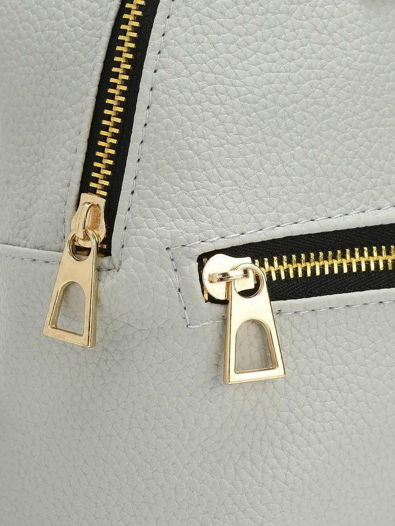 Metal Detail Front Zipper PU Backpack - Grey