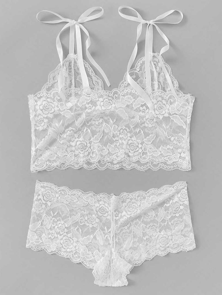 e2319842b8e Scalloped Trim Floral Lace Lingerie Set - White Click here to enlarge