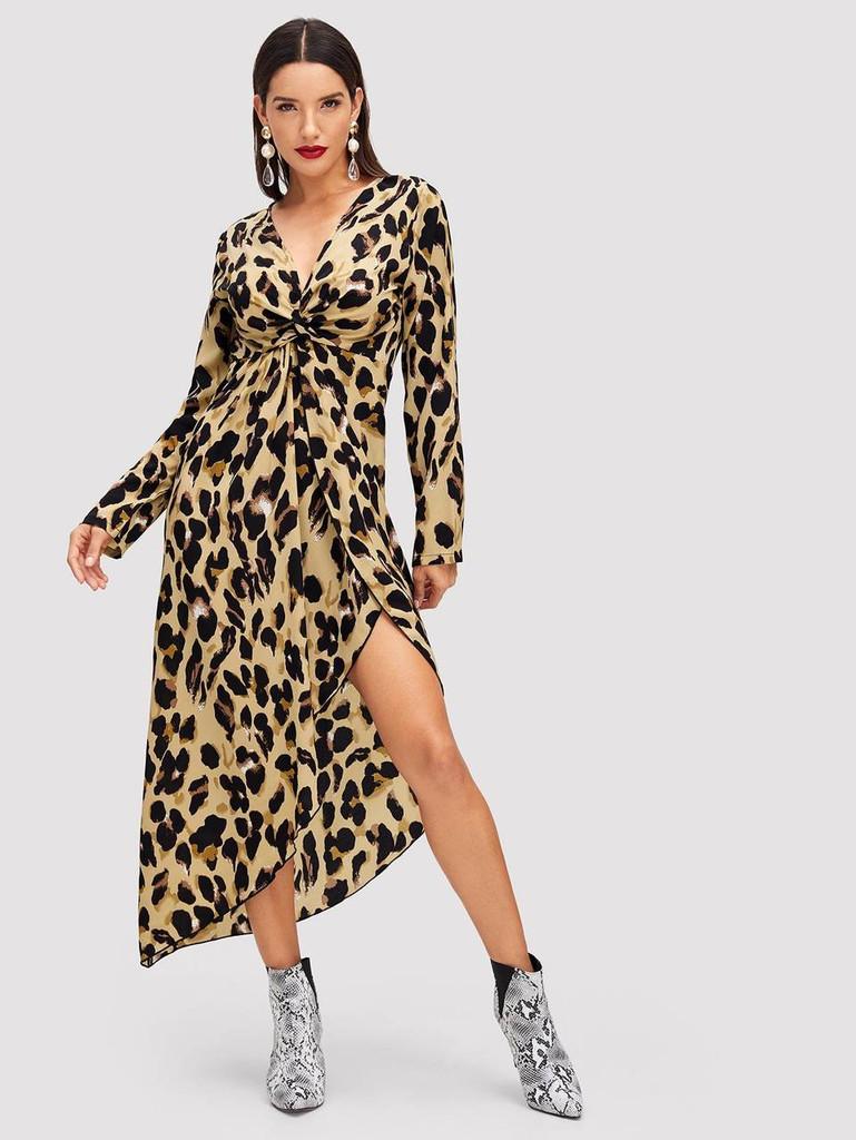 Twist Front Asymmetric Leopard Dress
