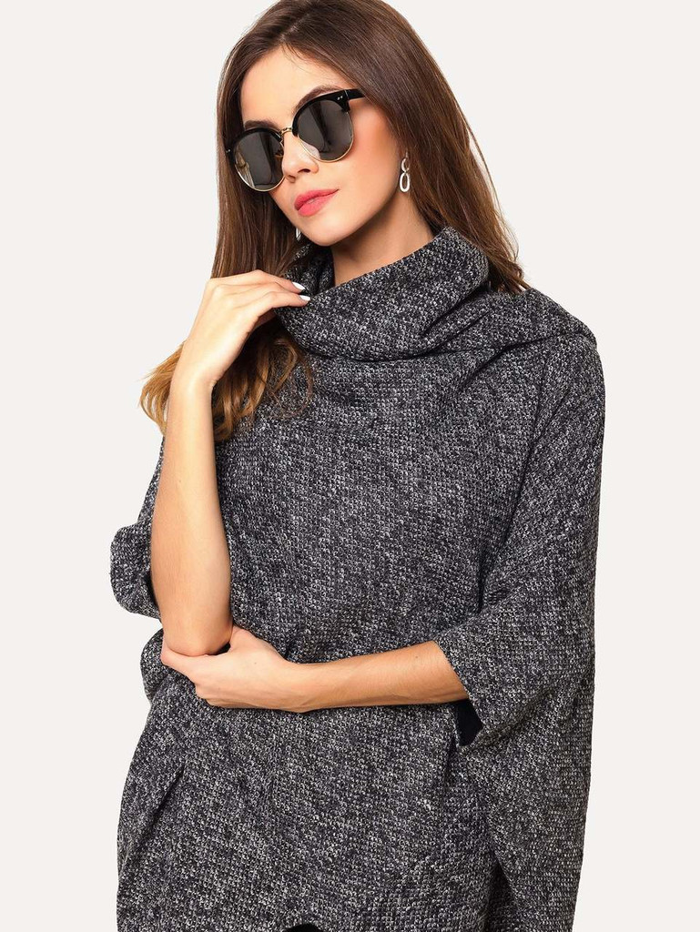 High Neck Dip Hem Poncho Sweater - Grey