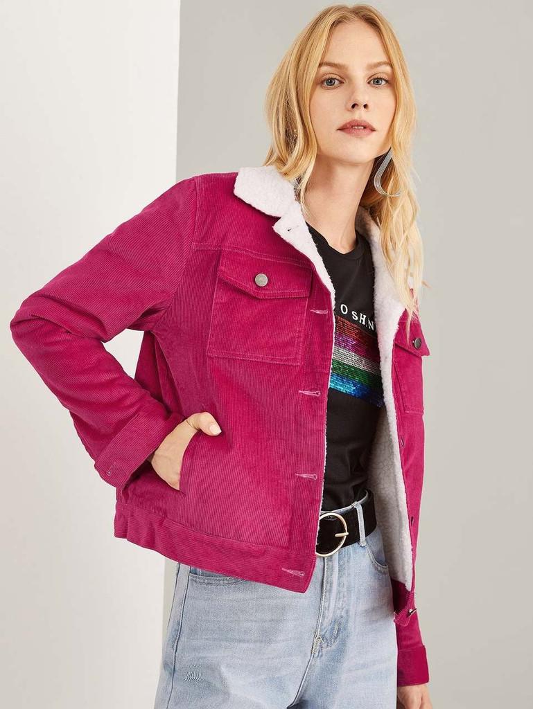 Contrast Fleece Lined Jacket - Hot Pink