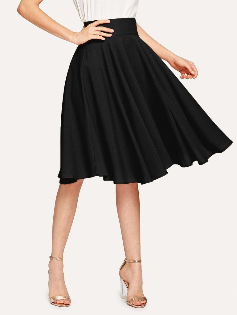 High Rise Wide Waistband Circle Skirt - Black