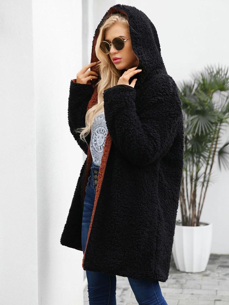 Reversible Hooded Teddy Coat - Black