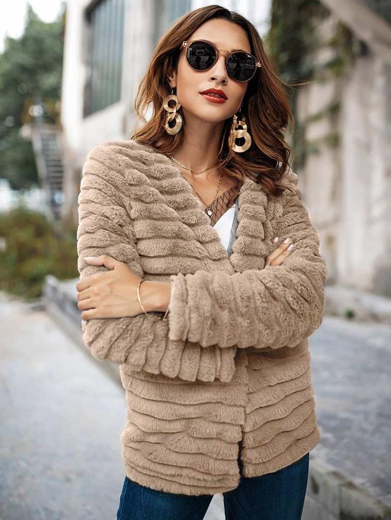 Textured Faux Fur Teddy Coat