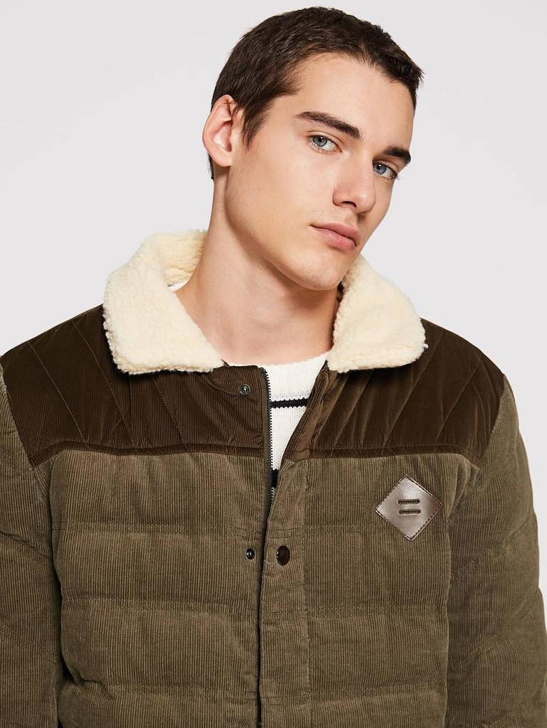 Men Button Detail Corduroy Puffer Coat With Borg Collar