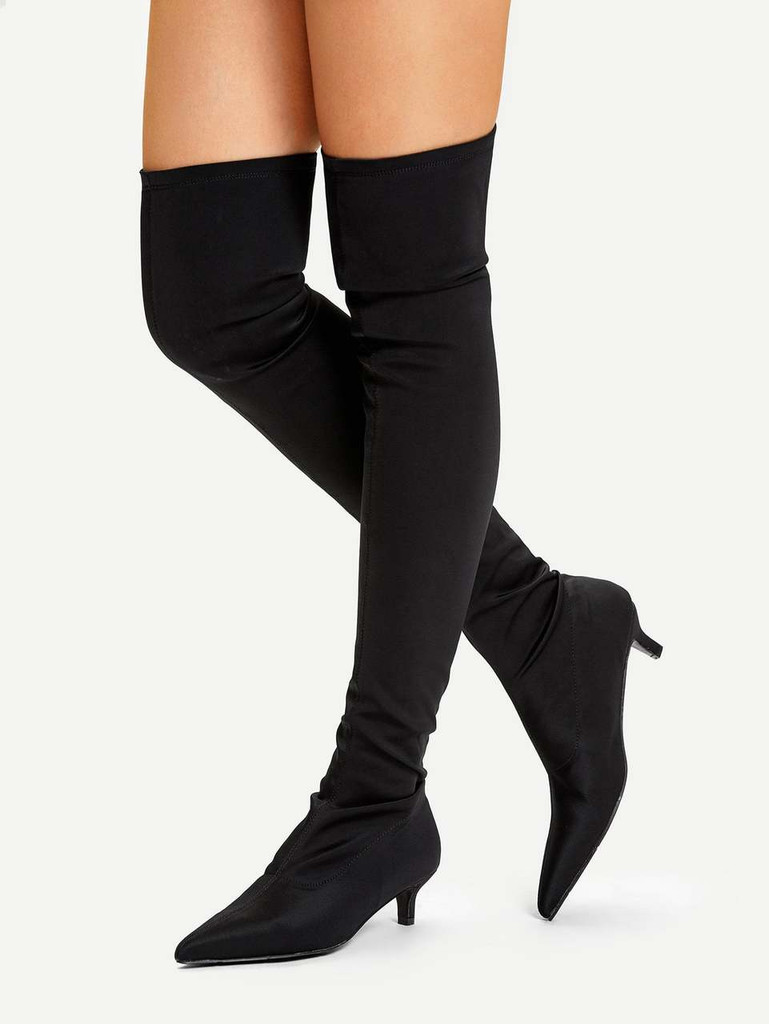 Over The Knee Plain Boots - Black