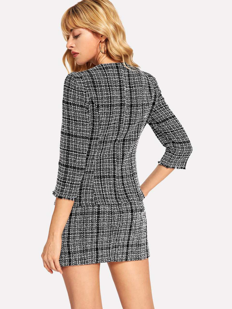 Frayed Trim Tweed Coat With Split Skirt