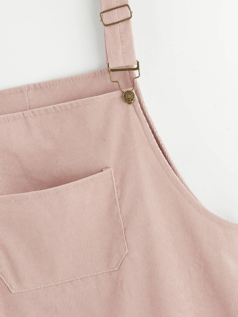 Plus Pocket Front Corduroy Pinafore Dress - Pink