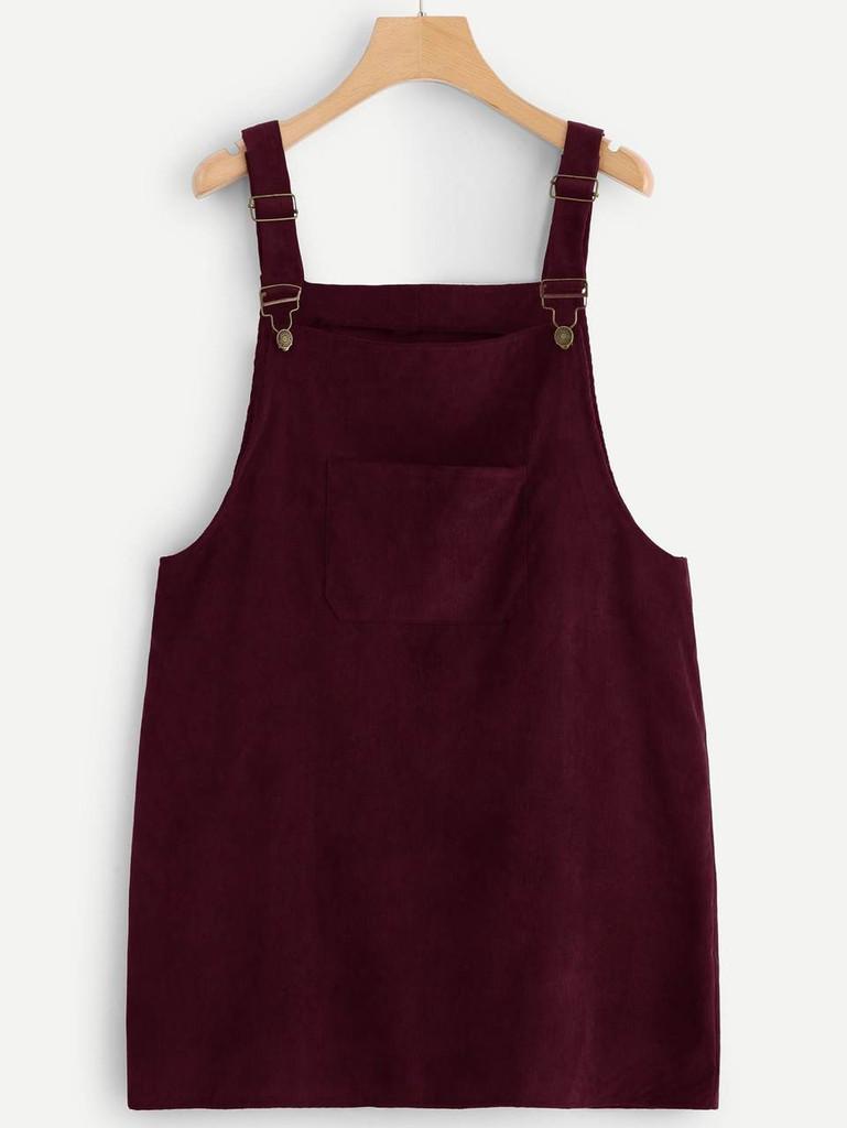 Plus Pocket Front Corduroy Pinafore Dress - Burgundy