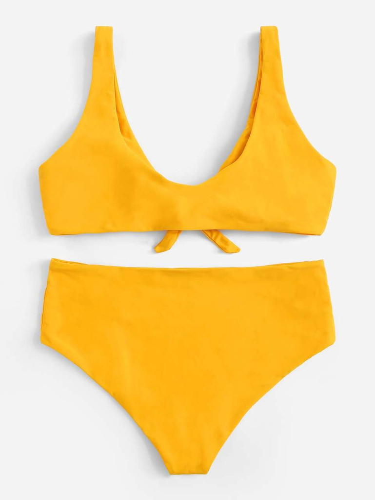 Plus Tie Front Top With High Waist Bikini - Yellow