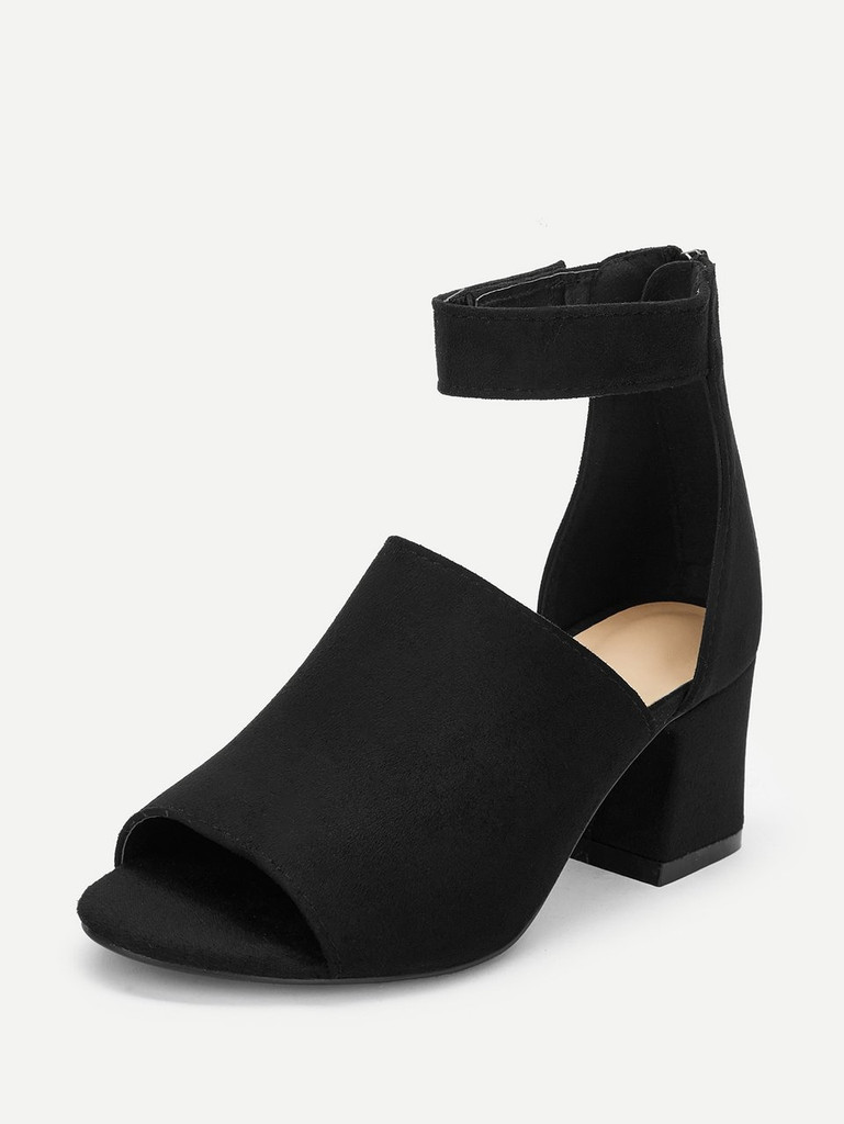 Solid Ankle Strap Suede Heels