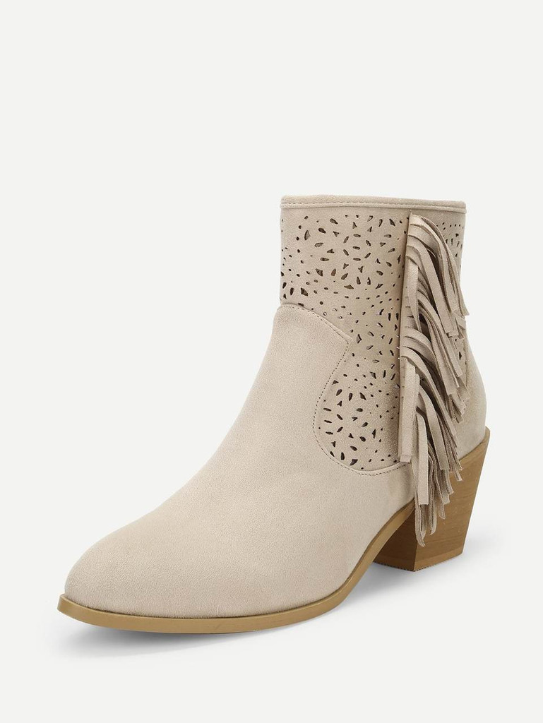 Tassel Detail Cut-Out Ankle Boots - Apricot