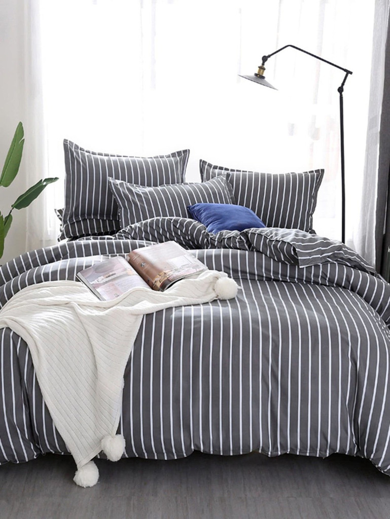 Allover Striped Print Duvet Cover Booboo London Com