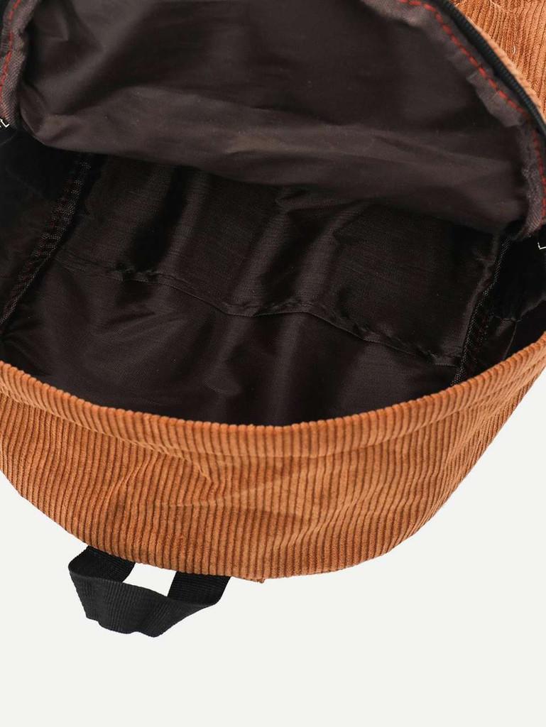 Slogan Ribbon Corduroy Backpack - Brown