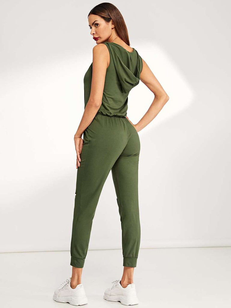 Zipper Front Ripped Knee Utility Jumpsuit