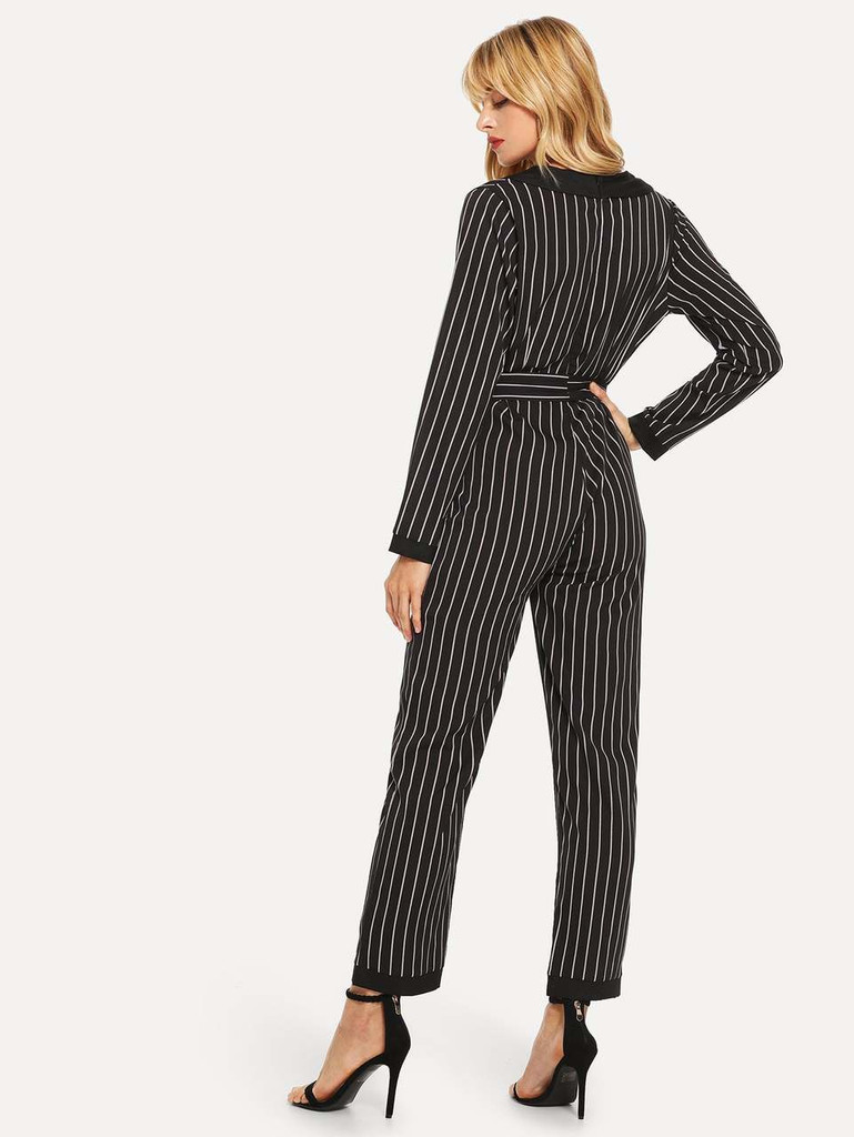 Self Tie Striped Jumpsuit