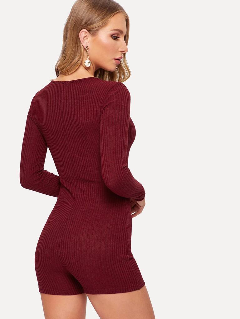 Crisscross V Neck Rib-knit Romper