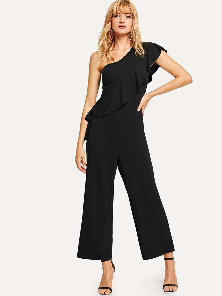 Flounce One Shoulder Wide Leg Solid Jumpsuit