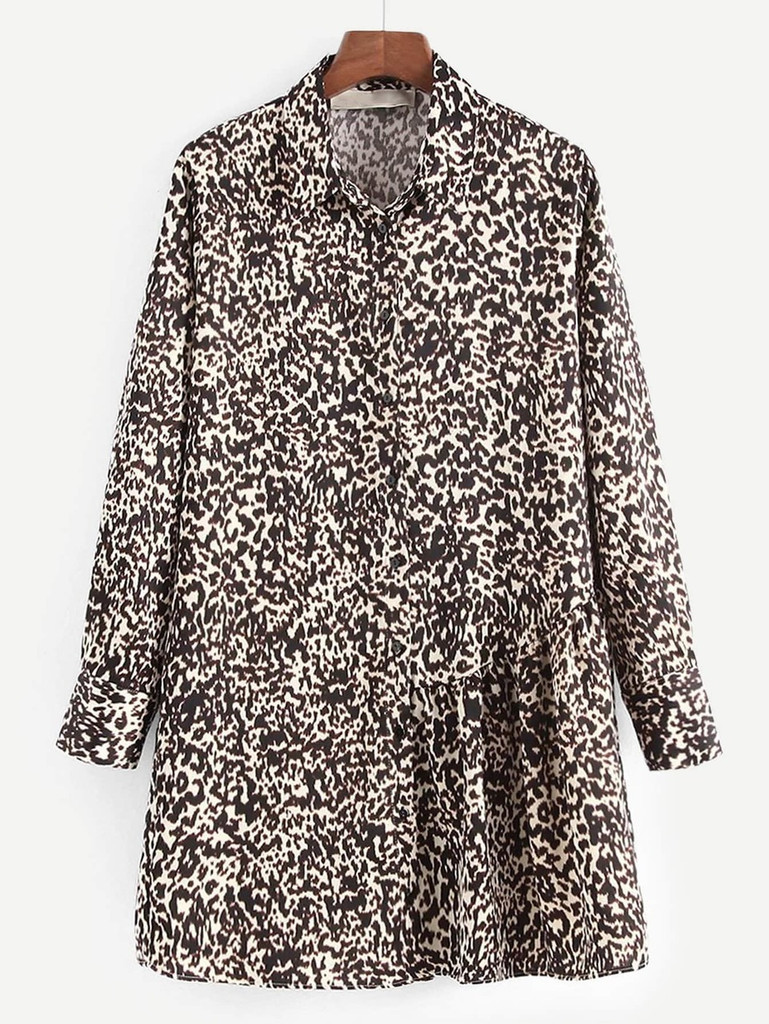 41f850ea0b4 Leopard Print Shirt Dress - Multicolor Click here to enlarge