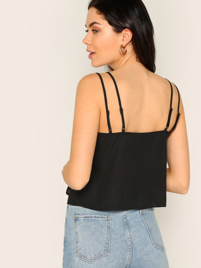 V Neck Solid Strappy Top