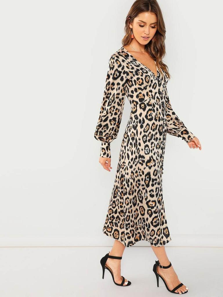 Plunging Neck Leopard Print Dress