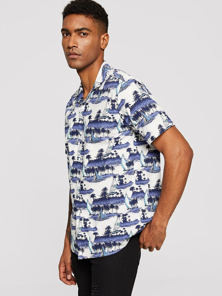 Men Coconut Tree & Boat Print Shirt