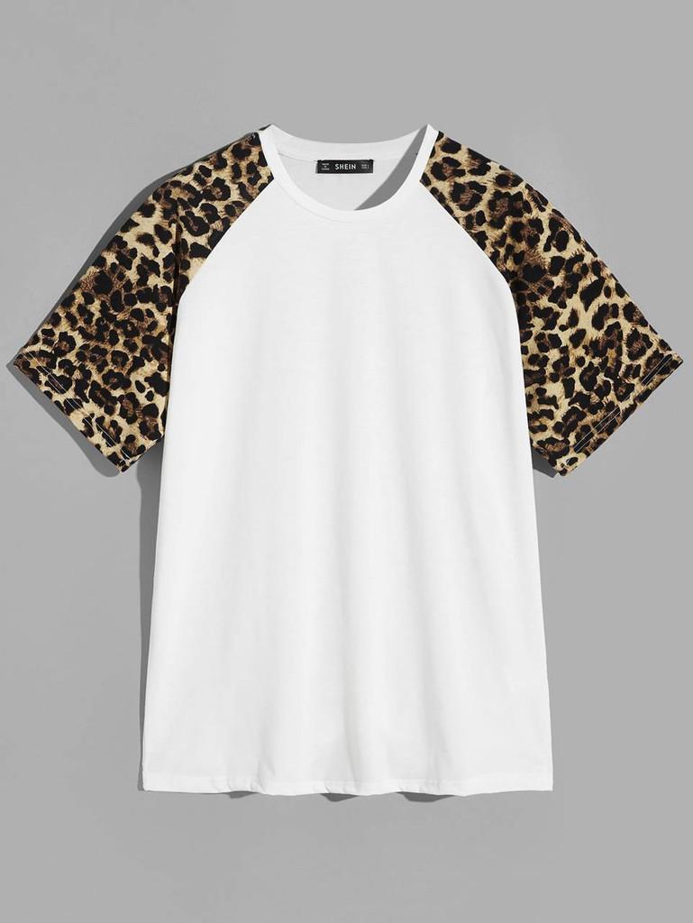 Men Leopard Raglan Sleeve Top