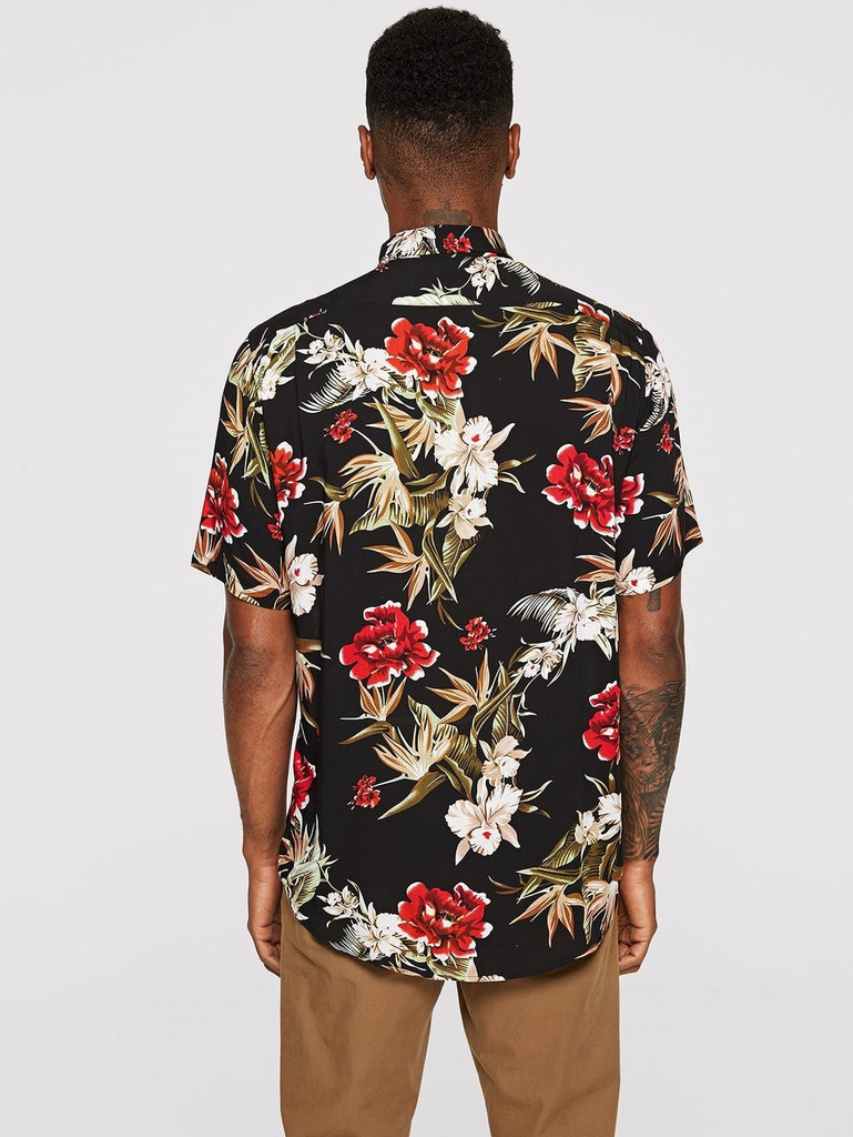 Men Tropical Print Curved Hem Shirt - Multicolor