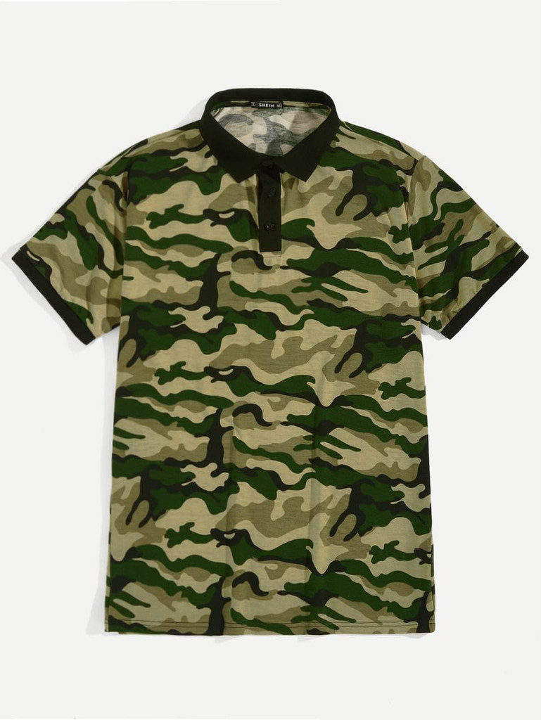 1d84381b Men Camo Print Polo Shirt Click here to enlarge