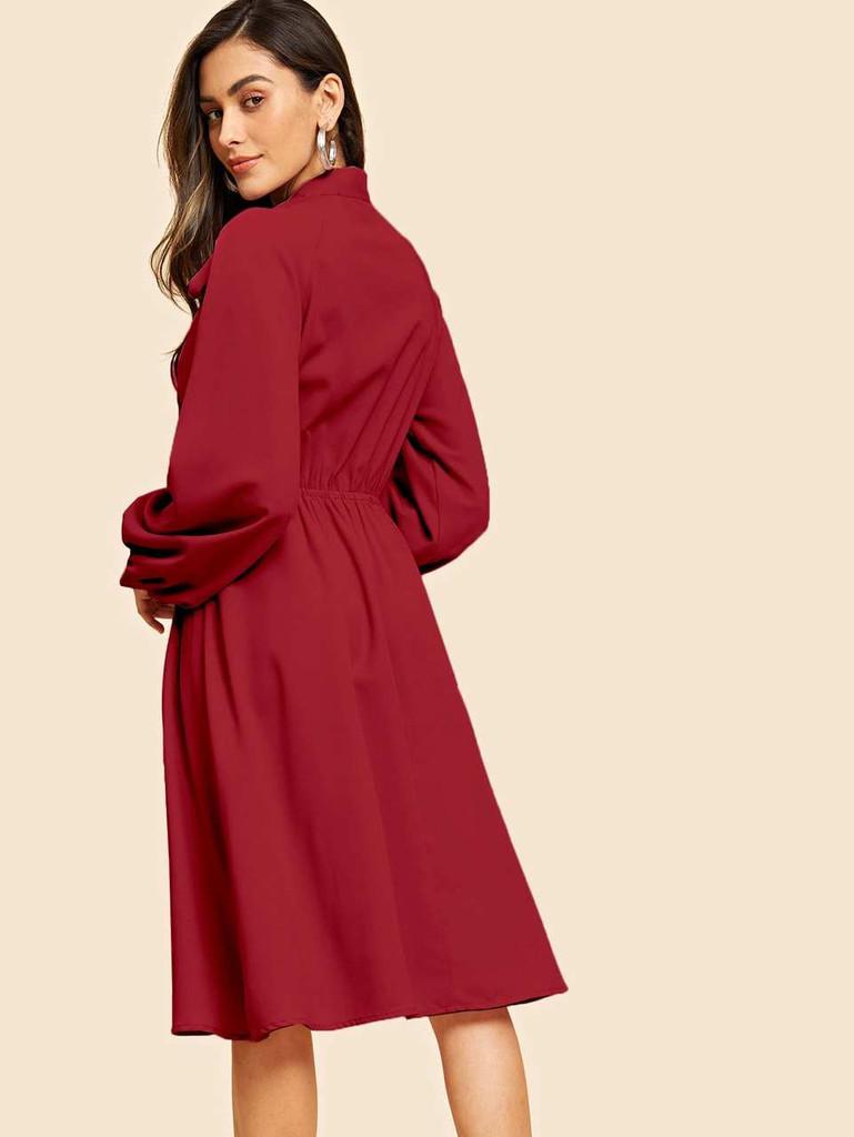 Tie Neck Lantern Sleeve Solid Dress