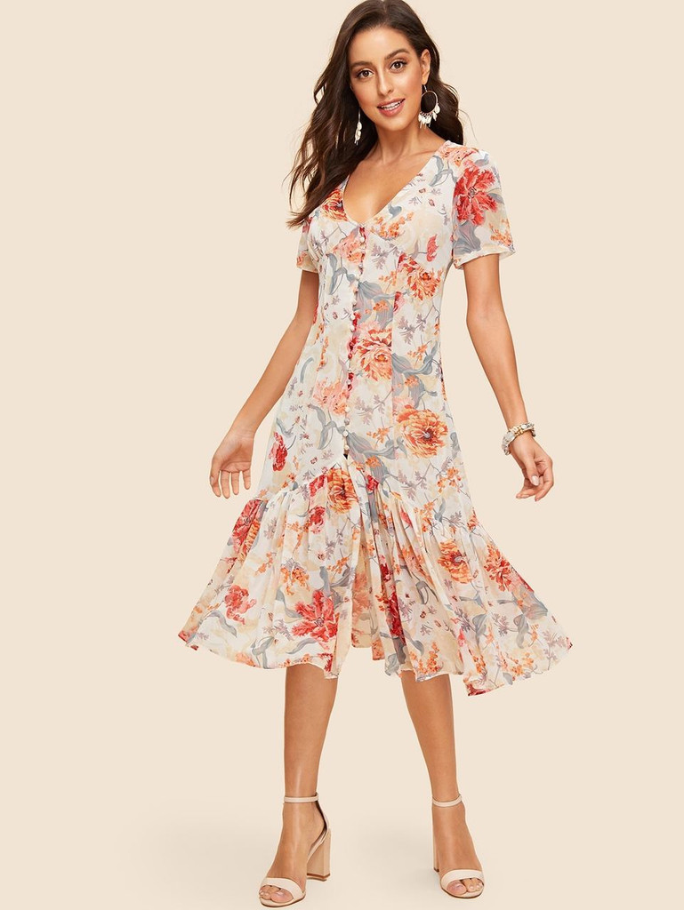 Button Up Flounce Hem Botanical Dress (v. Multicolor)